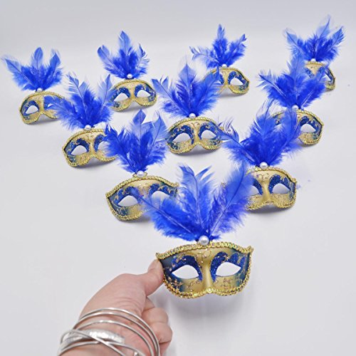 Mardi Gra Decorations (Mini Masquerade Mask Party Decorations - Yiseng 12pcs Luxury Feather Pearl Mardi Gras Small Mask Blue color)