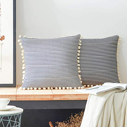 COMHO Cotton Woven Stripe Throw Pillow Covers with Balls, Decorative Cushion Covers, Square Farmhouse Pillowcases, for Sofa Bedroom Car Chair 18x18 Inch (Navy Blue, Pack of 2) (Outdoor Navy Pillow Stripe)