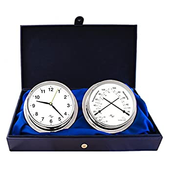 "Image of Clocks & Barometers Master-Mariner First Light Collection, Nautical Cabin Gift Set, 5.75"" Diameter Clock and Comfort Meter Instruments, Chrome Finish, Classic White dial"