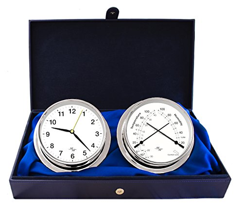 "Master-Mariner First Light Collection, Nautical Cabin Gift Set, 5.75"" Diameter Clock and Comfort Meter Instruments, Chrome Finish, Classic White dial"
