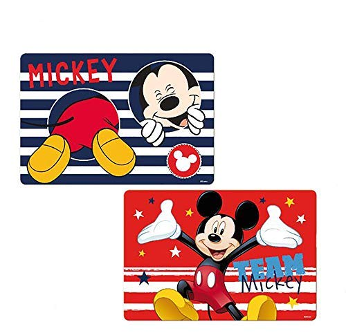 Disney Mickey Mouse Kids 3D Tablemat Placemat Washable Reusable (Set of 2),BPA Free