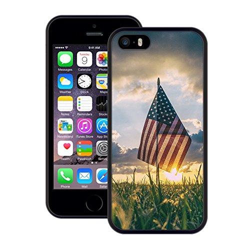 Amerikanische Flagge | Handgefertigt | iPhone 5 5s SE | Schwarze Hülle