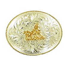 Crumrine Western Belt Buckle Cutting Horse Rope Silver Gold C1036904