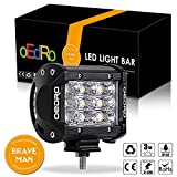 oEdRo 4 Inch Tri-Row LED Light Pods,1600LM 27W Flood Beam Offroad Fog Driving Lights LED Work Light for Car Boat SUV 4X4 4WD ATV Truck Jeep, 3 Years Warranty