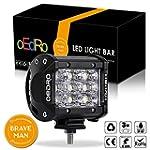 oEdRo 4 Inch Tri Row LED Fog Light 1600LM 27W Flood Beam LED Light Bar LED Fog Driving Light Off Road Lights Car Boat Light SUV 4X4 4WD ATV Jeep Lamp 3 Years Warranty