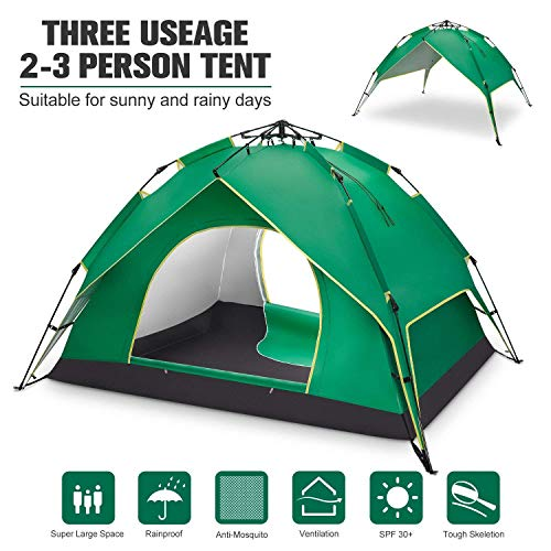 BATTOP 2-3 Person Tent for Camping Instant Pop Up Tents 4 Season Backpacking Tent for Outdoor 90.55″ L x78.74 W x53.15 H
