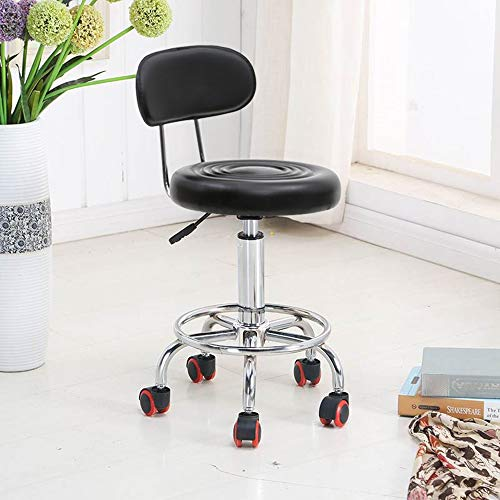 SSLine Rolling Drafting Chair Adjustable Swivel Massage Salon Spa Stool with Wheels and Back Hydraulic Office Dental Bar Chairs (Black-B Type)