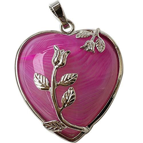 Jewelry58718 Fashion Lapis Lazuli Heart Flower Pendant Bead (Rose Agate C7747)
