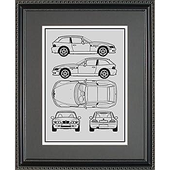 Amazon tesla model s blueprint framed car art gift choose bmw blueprint framed car art gift choose your model 11x14 malvernweather Images