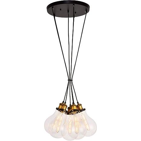 Amazon.com: Colgantes 6 lámparas con acabado negro y latón ...