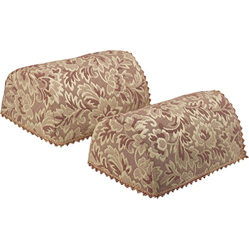 Decorative Pair Of Standard Round Arm Caps Traditional Floral Jacquard  (Dusty Pink)