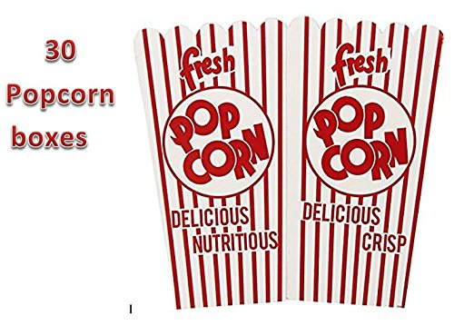 MOVIE PARTY POPCORN BOXES, Quantity: 30; WHITE and RED, PERFECT SIZE PORTION, GREAT FOR MOVIE NIGHT OR MOVIE PARTY THEME, THEATER LIKE DECORATIONS or KIDS PARTY. SLEEP OVER, etc.(30 (Movie Night Decorations)