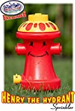 Matty's Toy Stop Henry the Hydrant Water Sprinkler for Kids, Attaches to Standard Garden Hose & Sprays Up to 10 Feet High & 16 Feet Wide, Measures 10.75'' High
