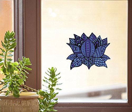 (Patterned Zen Lotus Flower - INDIGO - See-Through Vinyl Window Decal - Copyright Yadda-Yadda Design Co. (5