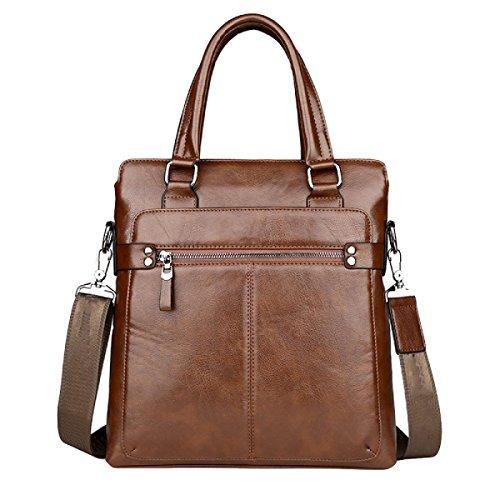 Men's File Zipper Brown1 Bag Leather Computer Handbag Hardware UUT4f