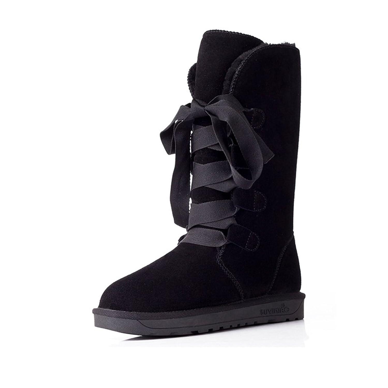 Jianda New Women Winter Snow Boots Anti-skid High Lace Up Cotton Shoes