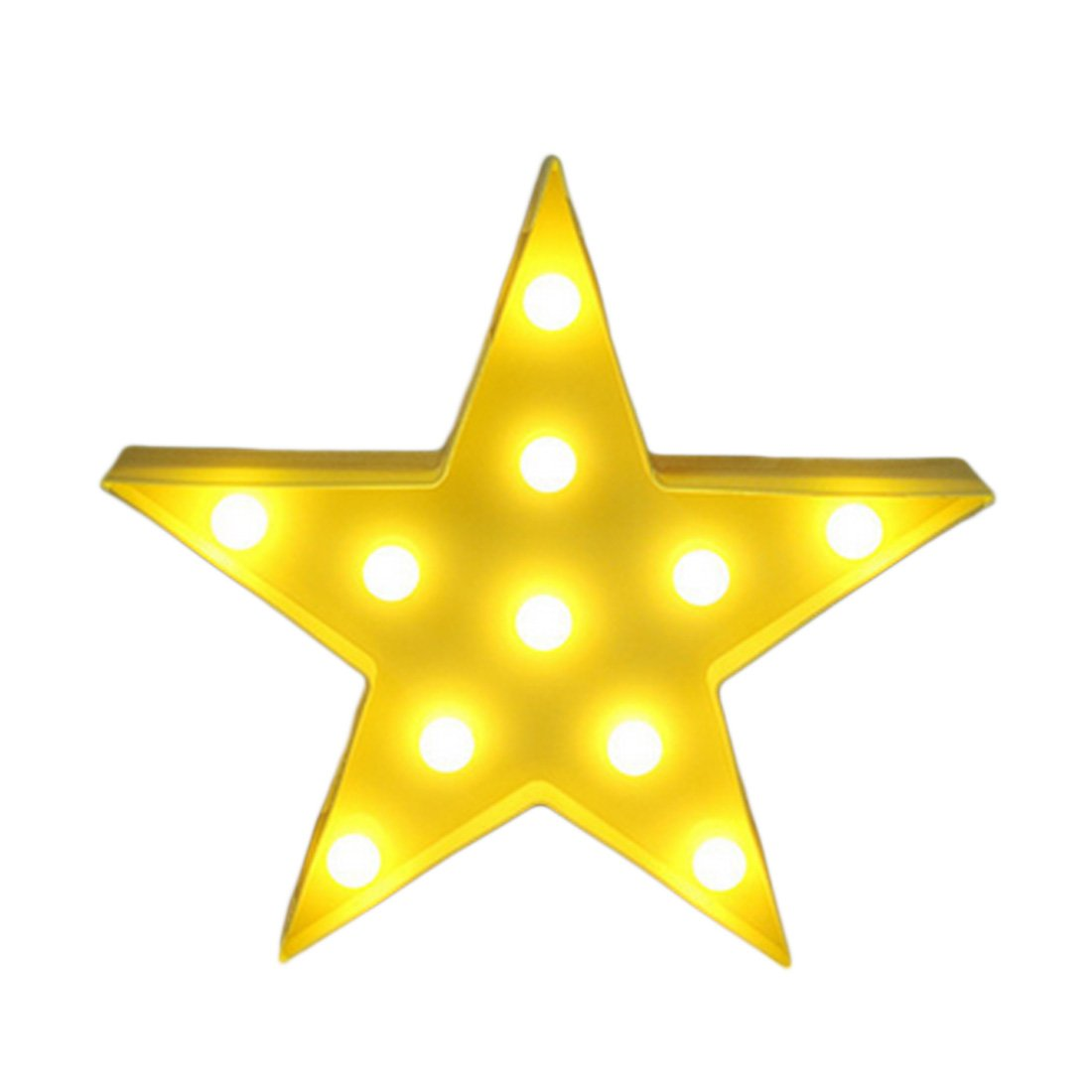3D Star Moon Night Light LED Cute Marquee Sign Compatible with Baby Children Yellow Star