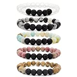 Bivei Lava Rock Stone Essential Oil Diffuser Bracelet - Natural Semi Precious Gemstone Beads Healing Crystal Bracelet(Set of 5)