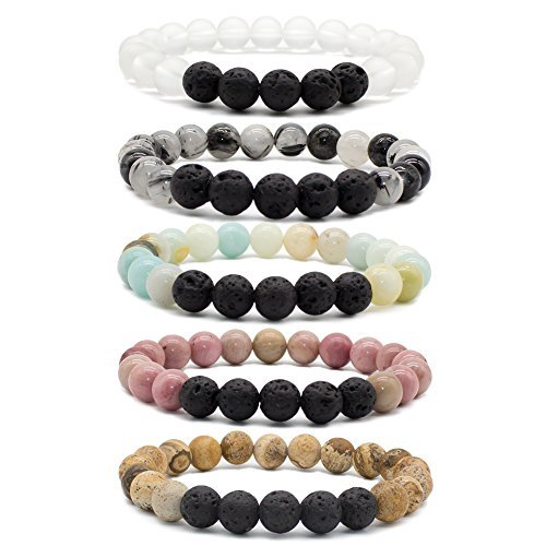 Bivei Lava Rock Stone Essential Oil Diffuser Bracelet - Natural Semi Precious Gemstone Beads Healing Crystal Bracelet(Set of 5)