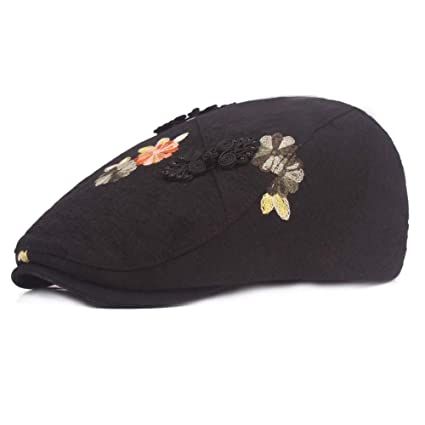 27715e6cb1846 GG Ladies Retro Berets Flower Cap Cotton and Linen Flat Cap Keep Warm Cotton