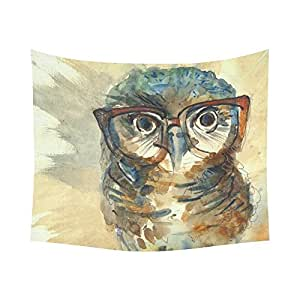 InterestPrint Funny Animal Home Decor Tapestries Wall Art, Watercolor Wise Owl Tapestry Wall Hanging Art Sets 60 X 51 Inches