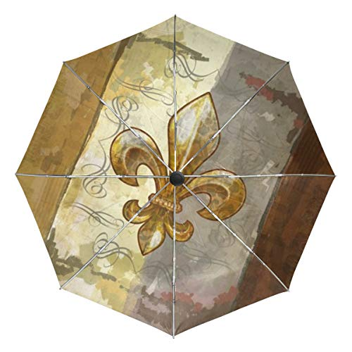 Fleur De Lis Retro Sun&Rain Automatic Umbrella Windproof Travel UV