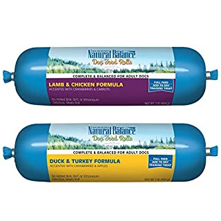 Natural Balance Rolled Dog Food 2 Flavor Variety Bundle: (1) Lamb and Chicken and (1) Duck and Turkey, 16 Ounces Each (2 Rolls Total)