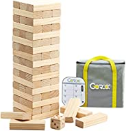 Gorock Giant Tumble Tower, Stacking Timber with Scoreboard | Dice | Carrying Bag, 56 PCS Wooden Block Building