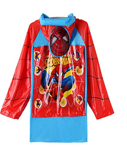 Spiderman Boys Portable Cartoon Long Raincoat Rain Poncho with Hoods and Sleeves ()