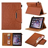 New iPad 9.7 2017 2018/iPad Air 2/iPad Air Case - Monstek Smart Folio Wallet Protective Case Cover with Stand Auto Wake/Sleep Multi-Angle for Apple iPad 6th/5th Gen, iPad 9.7 2017 2018,Brown