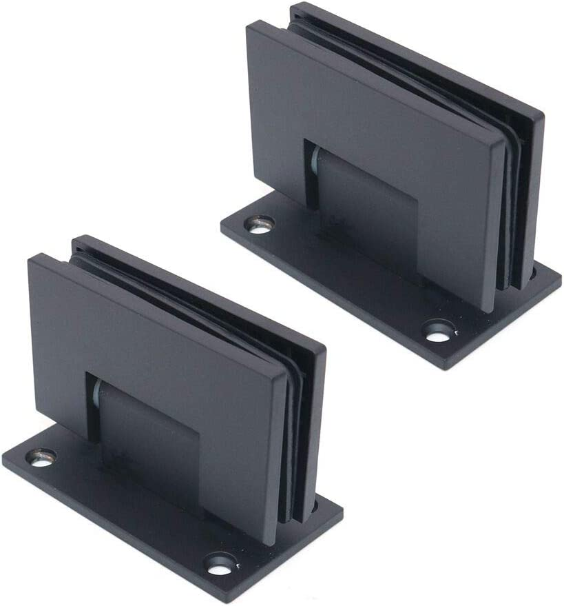 NUZAMAS Juego de 2 abrazaderas de cristal de acero inoxidable 304 de 90 grados, soportes de vidrio a pared, soporte de estante de vidrio, para paneles de vidrio de 8 a 12mm de grosor, negro mate