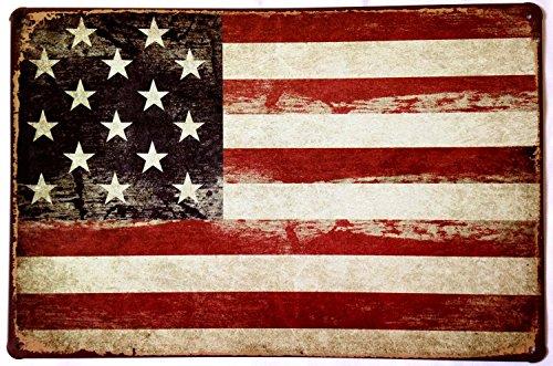 Ochoice Tin Sign American Flag Logo Retro Vintage American Decor Metal Sign Bar Decoration 8