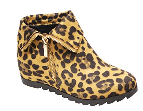 Bella Marie Kansas-11 Kvinnor Rund Tå Dold Kilklack Dragkedja Cuffed Öppning Mocka Fotled Tossor Leopard