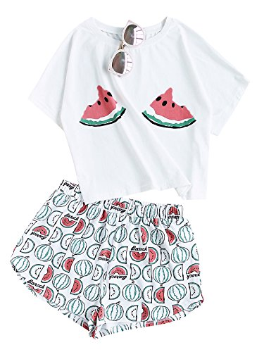 Floerns Women's Printed Short Sleeve Pajamas Top and Shorts Sets Multi S