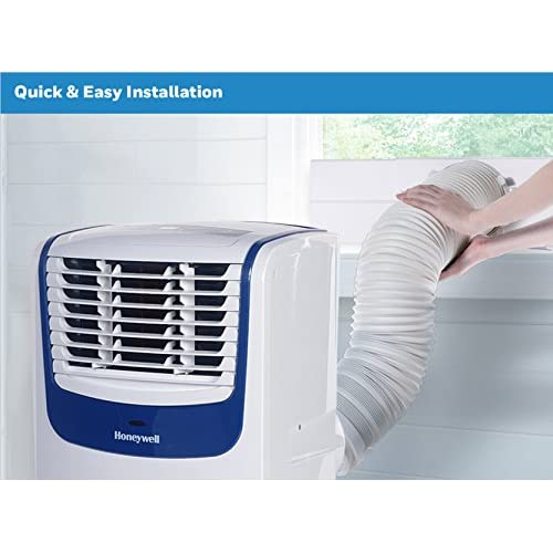 Honeywell Compact Portable Air Conditioner with Dehumidifier and Fan for Rooms up to 350 sq. ft. in White/Blue