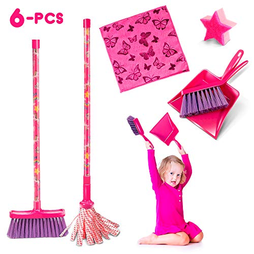 6Pcs Cleaning toys,Mini Dustpan and Brush set for Kids Plastic Small Broom and Mop for Desk Cleaner Mini Sweeping Cleaning Set
