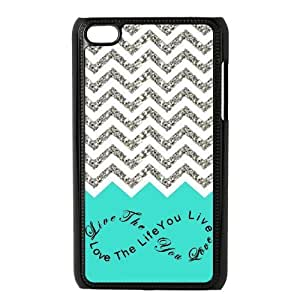 Design For You Colorful Chevron Pattern Live the Life You Love, Love the Life You Live IPOD TOUCH 4 Durable Plastic Case Without Glitter