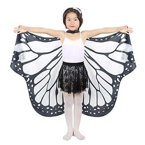 Dance Fairy Belly Dance Butterfly Angel Isis Wings for Adult/Child (Black+White-Hand Wings)