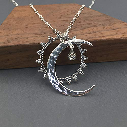 Celestial Jewelry Moon Necklace | 925 Sterling Silver Sun Moon Stars