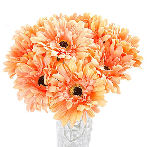 Htmeing 10 pcs Sunbeam Artificial Flower Mum Gerber Daisy Bridal Bouquet Silk Wedding Party Decoration (Orange)