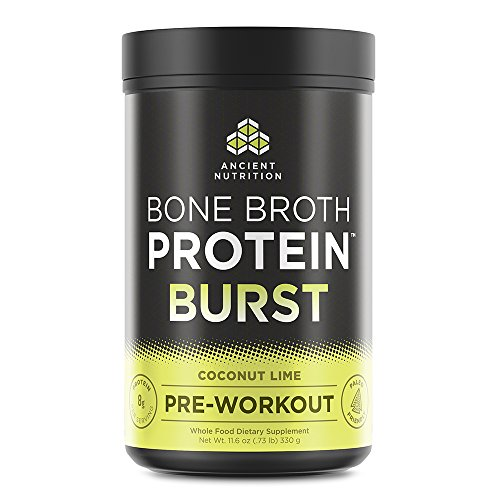 Ancient Nutrition Bone Broth Protein BURST Pre-Workout Energizer, Coconut Lime Flavor, 30 Servings Size - Powered by Ancient Superfoods, Adaptogenic Herbs and Organic Coffee Berry