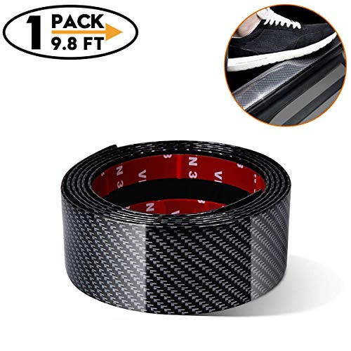 Carbon Fiber Rubber Car Door Sill Trim Bumper Protector for All auto,Door Entry Guards Scratch Cover Protector Paint Threshold Guard, Bumper Protection Strip(width2in long98in)