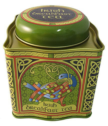 Designed Tin - Irish Breakfast Tea - Celtic Peacock Irish Weave Designed Tin