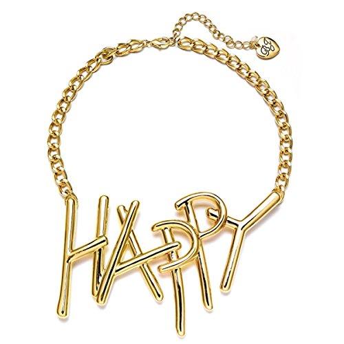 Betsey Johnson xox Trolls Women's 'Happy' 18-in Gold-Tone Necklace