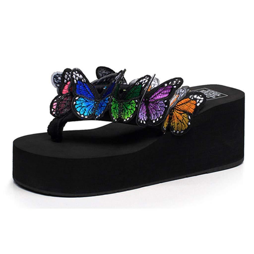Women Flip Flops Summer ♔ Ladies Wedges Sandals Platform Casual Girls Butterfly Floral Slippers Beach Shoes Black