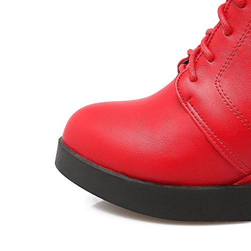 AllhqFashion Mujeres Cremallera Posterior Cuña Sólido Caña Baja Puntera Redonda Botas Rojo