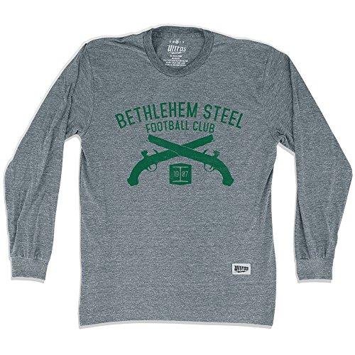 fan products of Bethlehem Steel Soccer Club Pistols Long Sleeve T-Shirt, Athletic Grey, 2X Large