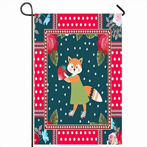 - Ahawoso Outdoor Garden Flag 12x18 Inches Fox Orange Patchwork Pattern Children Little Polka Ornamental Dot Baby Bloom Blossom Border Bouquet Two Sides Seasonal Home Decor House Yard Sign Banner