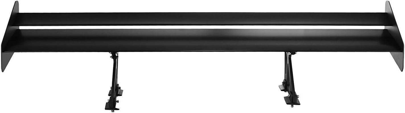 Guellin 135CM GT Alerón Trasero Negro Alerón Trasero de Aluminio con Doble Cubierta para Coche Universal con Ángulos Ajustables (135CM Doble cubierta)