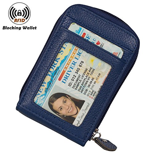 Noedy RFID Blocking Credit Card Case Organizer Genuine Leather Zip-Around Security Wallet Blue (Womens Card Case)